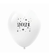 "11"" Year 2021 Stars Latex Balloons White (25 Per Bag)"