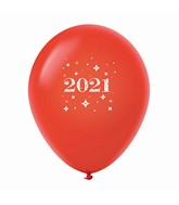 "11"" Year 2021 Stars Latex Balloons Red (25 Per Bag)"