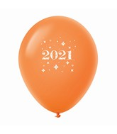 "11"" Year 2021 Stars Latex Balloons Orange (25 Per Bag)"