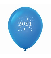 "11"" Year 2021 Stars Latex Balloons Blue (25 Per Bag)"
