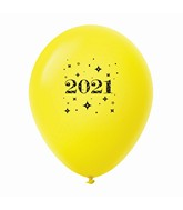 "11"" Year 2021 Stars Latex Balloons Yellow (25 Per Bag)"