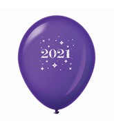 "11"" Year 2021 Stars Latex Balloons Purple (25 Per Bag)"