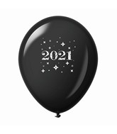 "11"" Year 2021 Stars Latex Balloons Black (25 Per Bag)"