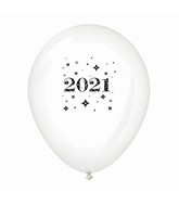 "11"" Year 2021 Stars Latex Balloons Clear (25 Per Bag)"