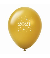 "11"" Year 2021 Stars Latex Balloons Gold (25 Per Bag)"