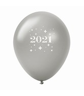 "11"" Year 2021 Stars Latex Balloons Silver (25 Per Bag)"