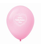 "11"" Happy Valentine's Day Heart Border Latex Balloons 25 Count Pink"