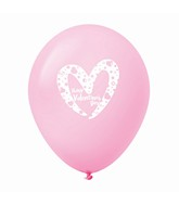 "11"" Happy Valentine's Day Slanted Heart Latex Balloons 25 Count Pink"