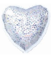 """18"""" Silver Heart Pattern Dazzleloon"""