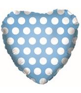 """18"""" Powder Blue W/ White Polka Dots"""