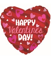 "18"" Happy Valentine's Day Stripes Foil Balloon"
