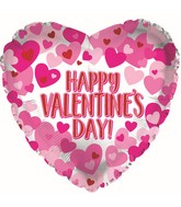 "17"" Happy Valentine's Day Hearts On Pearl Foil Balloon"