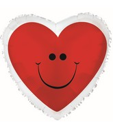 "18"" Red Smiley Heart with Border Balloon"