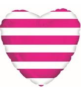 "18"" Hot Pink Stripes Foil Balloon"