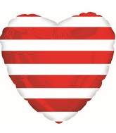 "18"" Red Striped Heart Foil Balloon"
