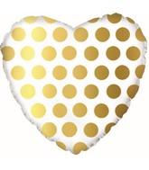 """18"""" Gold Polka Dot Heart Foil Balloon"""