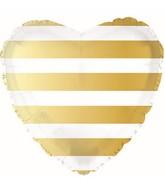 "18"" Gold Striped Heart Foil Balloon"