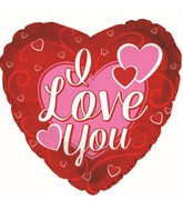 """9"""" Airfill Only I Love You 3-Pink Hearts Foil Balloon"""