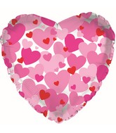 "9"" Airfill Only Pink Hearts-Clear Balloon"