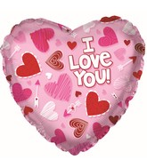 """9"""" Airfill Only I Love You Pink Scribble Heart Foil Balloon"""
