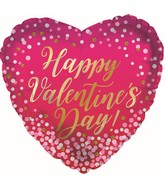 "9"" Airfill Only Happy Valentine's Day Glitter Dots Foil Balloon"