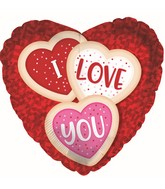 """9"""" Airfill Only I Love You Cookies Heart Foil Balloon"""