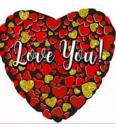 """9"""" Airfill Only Love You Glitter Gold-Red Foil Balloon"""