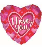 """9"""" Airfill Only I Love You Watercolor Hearts Foil Balloon"""