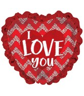 "32"" I Love You Red Glitter With Ruffles Foil Balloon"