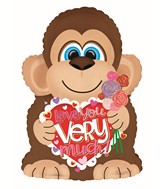 "22"" Gold Roses Love You Very Much Monkey Foil Balloon"