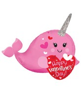 """12"""" Airfill Only Happy Valentine's Day Narwhal Foil Balloon"""