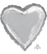 "28"" Silver Heart Jumbo Heart Foil Balloon"