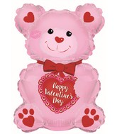 "20"" Happy Valentine's Day Pink Teddy Bear Foil Balloon"