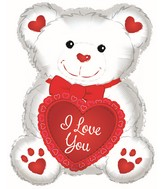 "20"" I Love You White Bear Balloon"