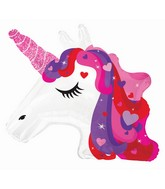 "24"" Unicorn Red & Purple Foil Balloon"