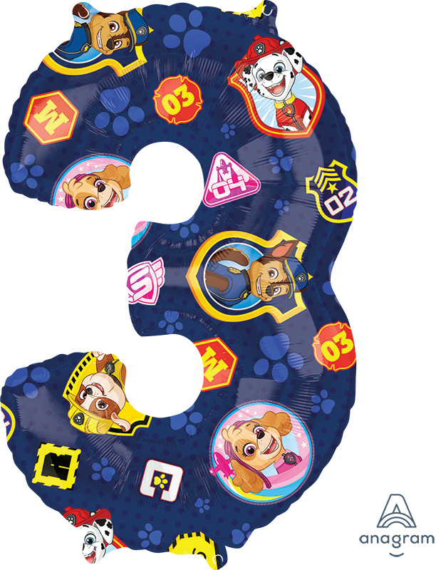 """26"""" Paw Patrol Number 3 Mid Size Shape Foil Balloon"""