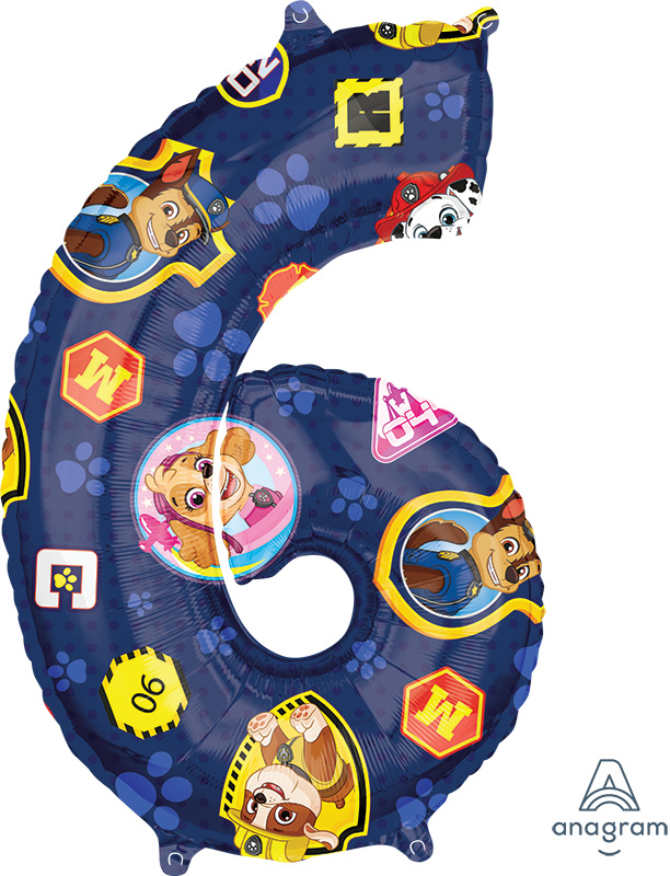"""26"""" Paw Patrol Number 6 Mid Size Shape Foil Balloon"""