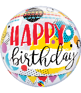"22"" Birthday Circles & Dot Patterns Bubble Balloon"