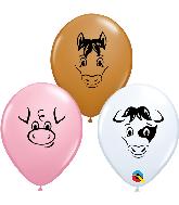 "5"" (100 Per Bag) Farm Animal Assorted Latex Balloons"