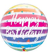 """22"""" Happy Birthday Bright Rainbow Stripes Bubble Balloon"""