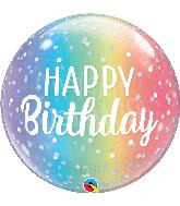 """22"""" Happy Birthday Ombre & Dots Bubble Balloon"""