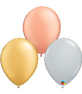 "11"" Silver, Gold, Rose Gold Latex Balloons (100 Per Bag)"