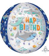 """16"""" Happy Birthday Sharks Orbz Clear Foil Balloon"""