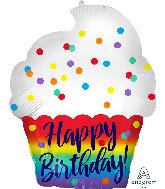 "18"" Happy Birthday Satin Cupcake Foil Balloon"