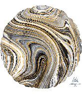 "18"" Marblez Black Circle Foil Balloon"