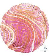 "18"" Marblez Pink Circle Foil Balloon"
