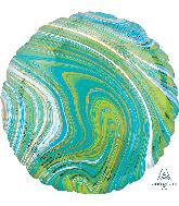 """18"""" Marblez Blue Green Circle Foil Balloon"""