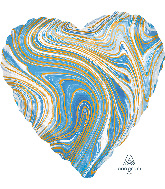 "18"" Marblez Blue Heart Foil Balloon"