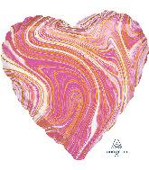"""18"""" Marblez Pink Heart Foil Balloon"""