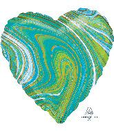 """18"""" Marblez Blue Green Heart Foil Balloon"""